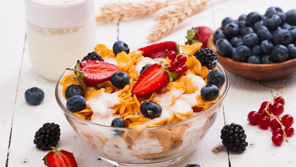 Bowl of healthy muesli and fresh berries